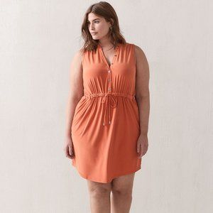 Additionelle Solid Sleeveless Shirt Dress 2X